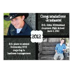 Black Tooled Leather Photo Graduation Announcement