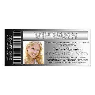 Black VIP Pass Admission Ticket Graduation Party Invitation
