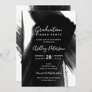 Black white brushstrokes typography graduation invitation