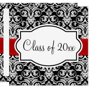 Black/White Damask Red Ribbon Square Graduation Invitation