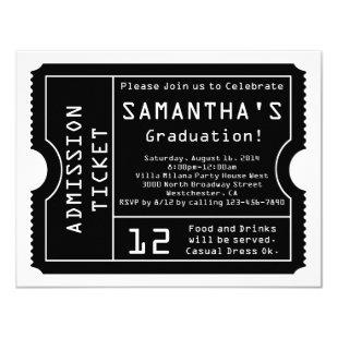 Black/White Digital Graduation Ticket Invitation