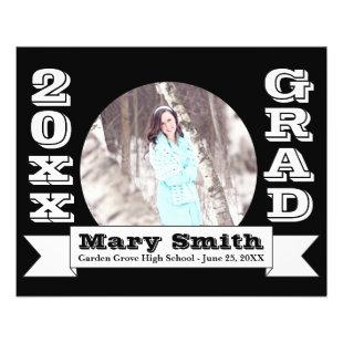 Black & White Formal Graduation Announcement Flyer