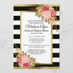 Black White Gold and Pink Floral Graduation Party Invitation