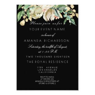 Black White Gold Floral Ivory Mint 16th Bridal Invitation