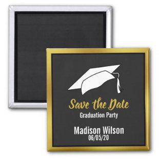 Black White & Gold Save the Date Graduation Party Magnet