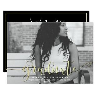 Black White & Gold Script | Graduate Photo Party Invitation
