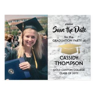 Black White Marble Photo Graduation Save the Date Postcard
