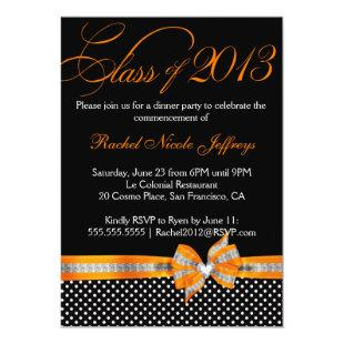 Black White Orange Polka Dot Graduation Invitation