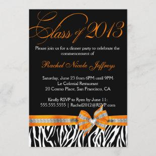 Black White Orange Zebra Graduation Invitation