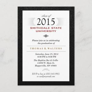Black White & Red Formal Grad Invite