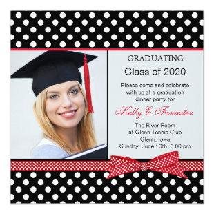 Black, white, red polka dot Graduation party photo Invitation