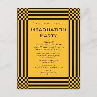 Black Yellow Checkers Stripes Graduation Party Invitation