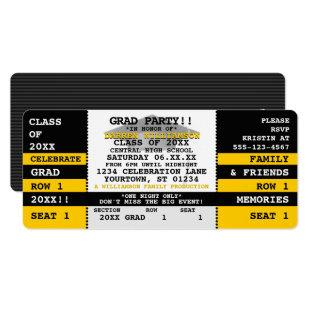 Black|Yellow Concert Ticket Grad Party Invitation
