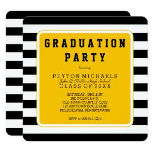 Black | Yellow Sporty Striped Graduation Party Invitation