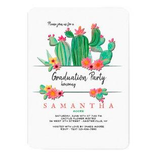 Blooming Cactus Graduation Party Invitation
