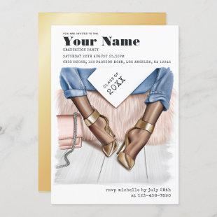 Blue and Gold Glam Chic Graduation Party Invitation