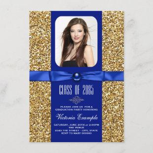 Blue and Gold Glitter Graduation Announcements