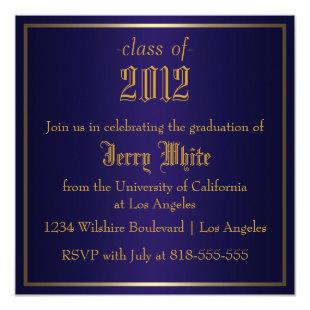 Blue and Gold Graduation Invitation