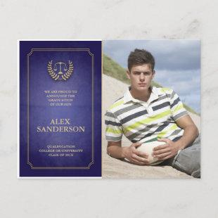 Blue and Gold Law School Graduation Announcement