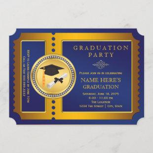 Blue and Gold Ticket Graduation Party Invitation