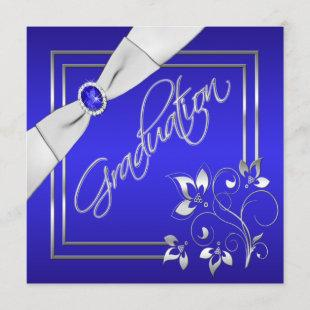 Blue and Silver Floral Photo Graduation Invitation