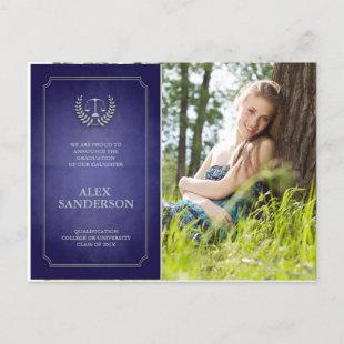 Blue and Silver Law School Graduation Announcement