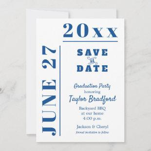 Blue and White Graduation Party Save the Date