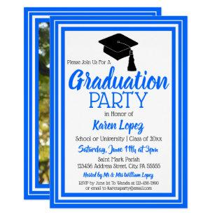 Blue and White Photo Graduation Party Invitation