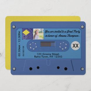 Blue and Yellow Retro Cassette Graduation Party Invitation