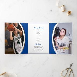 Blue Curved Frame Three Photo Graduation Tri-Fold Invitation