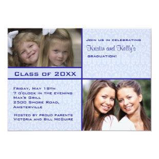 Blue Damask Photo Graduation Invitation