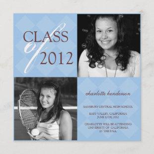 Blue diamond square photo graduation announcement
