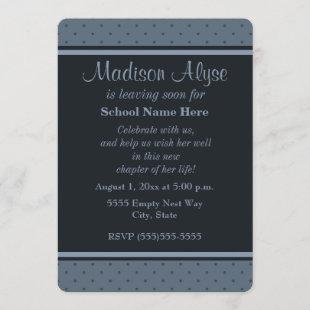 """Blue Dots """"Off To College"""" Party Invitation"""