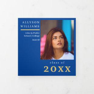 Blue Elegant Classy 8 Photo Graduation Tri-Fold Announcement