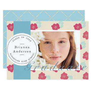 Blue Floral Stamp & Ribbon Photo Graduation Invitation