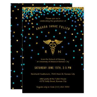 Blue & Gold Confetti Nursing Graduation Invitation