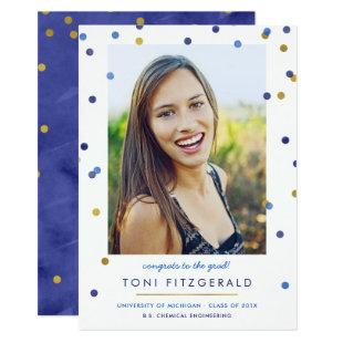 Blue & Gold Confetti Photo Graduation Invitation