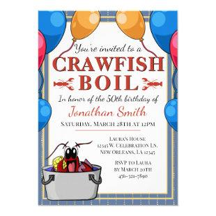 Blue Gold Crawfish Boil Special Event Birthday Invitation