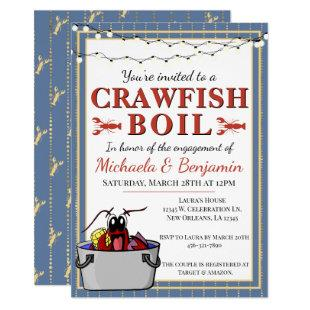 Blue Gold Crawfish Boil Special Event Engagement Invitation