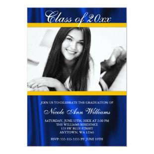 Blue Gold Satin Photo Graduation Announcement