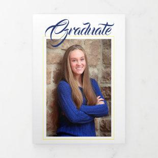 Blue &Gold Yellow Photo Graduation Announcement