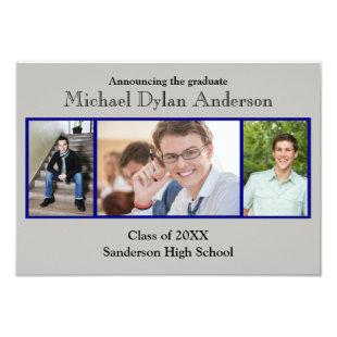 Blue/Gray Background - 3x5 Graduation Party Invitation