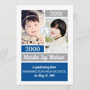 Blue Gray School Colors Then and Now Graduation Invitation