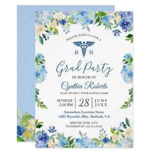 Blue Hydrangeas Floral Nursing School Graduation Invitation