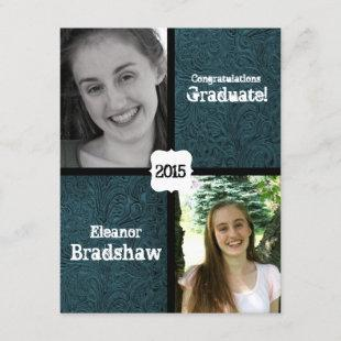 Blue Leather Look Two Photo Graduation Party Invitation
