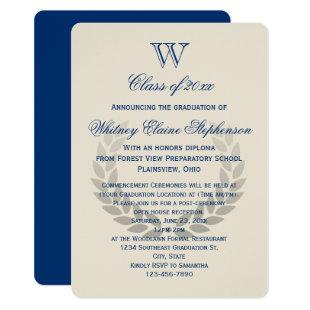 Blue Letter Monogram Classic College Graduation Invitation