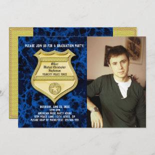 Blue Marble Photo Police Graduation Party Invitation