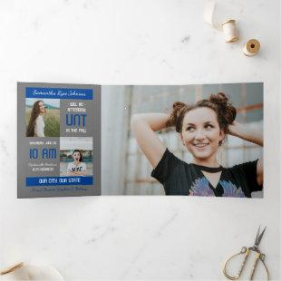 Blue Modern Block 5-Photo Graduation Tri-Fold Invitation