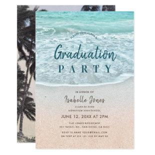 Blue Ocean & Sandy Beach Graduation Invitation