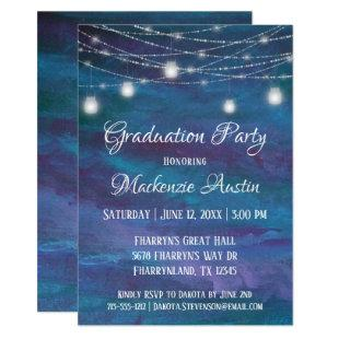 Blue-Ombre Graduation | Turquoise Violet Purple Invitation